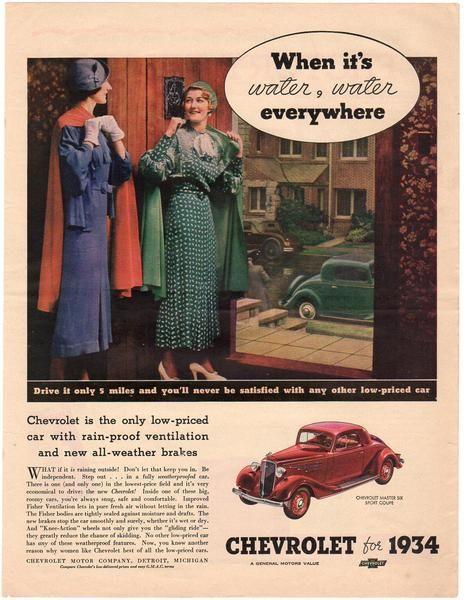 Vintage 1934 Chevy Master Six Sport Coupe Car Magazine Print Ad Kalamazoo Porcelain Stove