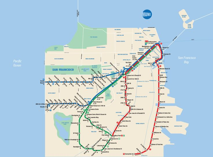 """Fantasy Map: San Francisco Muni Metro in the Style of the New York Subway MapCreated by DeviantArt member Maphead354, this is pretty spot-on, right down to the MTA-styled """"MUNI"""" logo and condensed serif font for park names. Of course, the letter designations for lines at every single station starts to look a bit silly with so few lines, but that's part of the fun of the mash-up, I guess.Amusingly, just like in New York, other rail systems get relegated to thin blue ticked route lines. In…"""