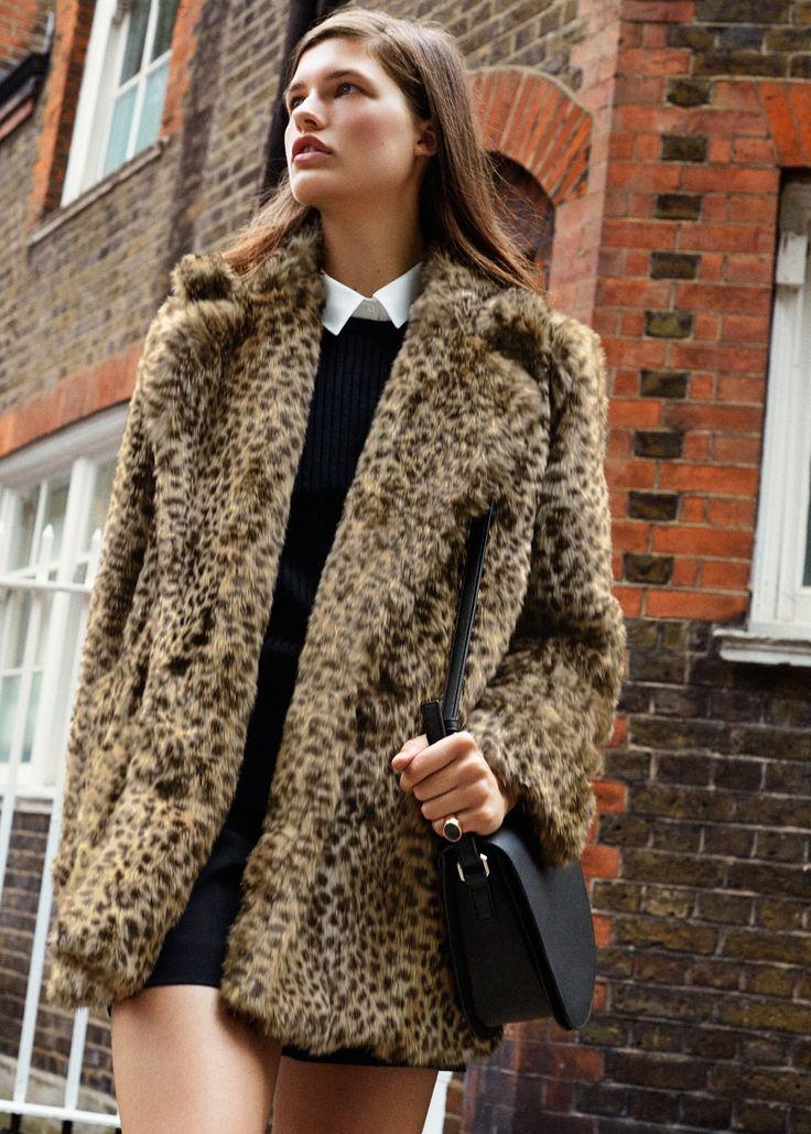 Leopard faux fur coat