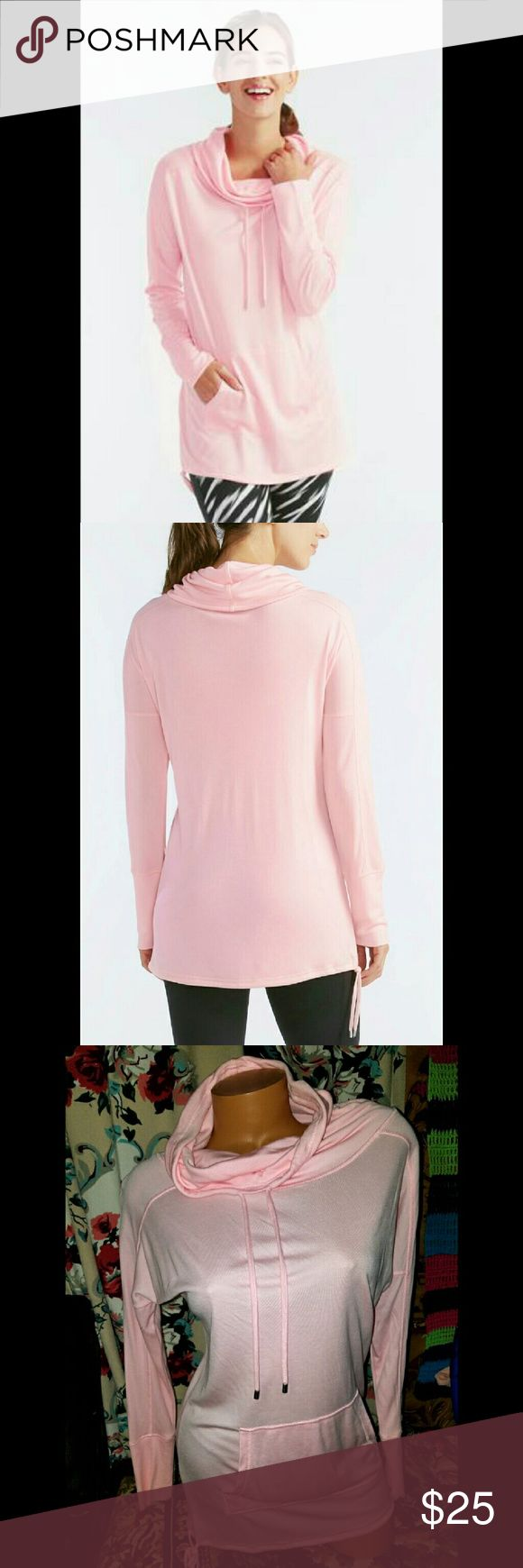 Sz XS Pink Cowl Neck Drawstring sweatshirt Fits 2-4 Never worn Fashion and function collide in this athleisure sweatshirt, featuring a soft knit fabrication, drawstring cowl neckline and front kangaroo pocket.    If you have aby questions please ask. Tags for exposure: Vs Victoria's Secret pink Athleisure Althletics gym comfy cute girly sweater forever21 charlotte russe h&m express Catos Sweaters