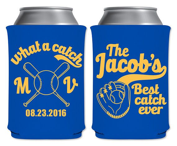 "Neoprene Collapsible Coolers Custom Beverage Insulators Huggers Funny Nautical Wedding Favors | What A Catch | Baseball | by ""ThatWedShop"" on Etsy 