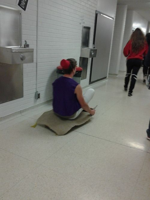 """on halloween this guy dressed up as Aladdin and glued his carpet to his skateboard and made his way through the halls like this"" Haha...funny"