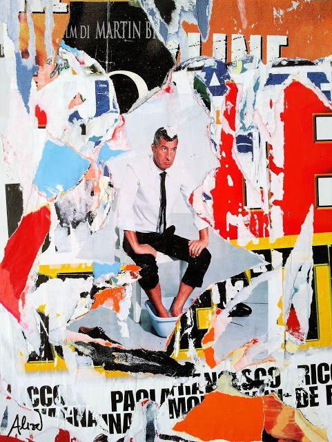 """Umberto Alizzi """"Re Matto"""" décollage omaggio a Maurizio Cattelan 2016 Mimmo Rotella collage decollage urban art street art arte contemporanea"""