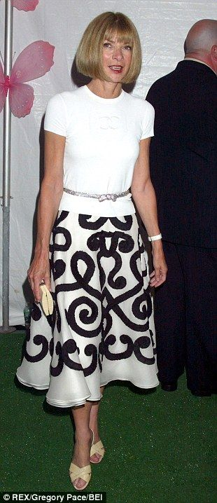 "Click through for a treasure trove of Anna Wintour outfits, all with the same shoes and necklaces. I like that she wears full skirts. For some reason I feel like full skirts are too ""young"", and I don't know where I got that idea from."