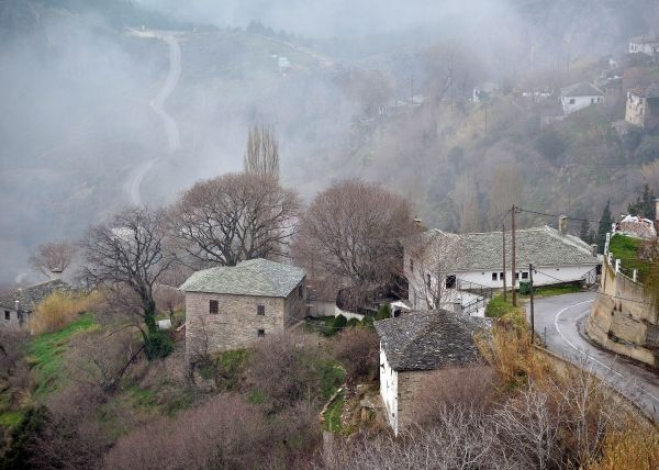 Morning view of Makrinitsa as fog lifts.