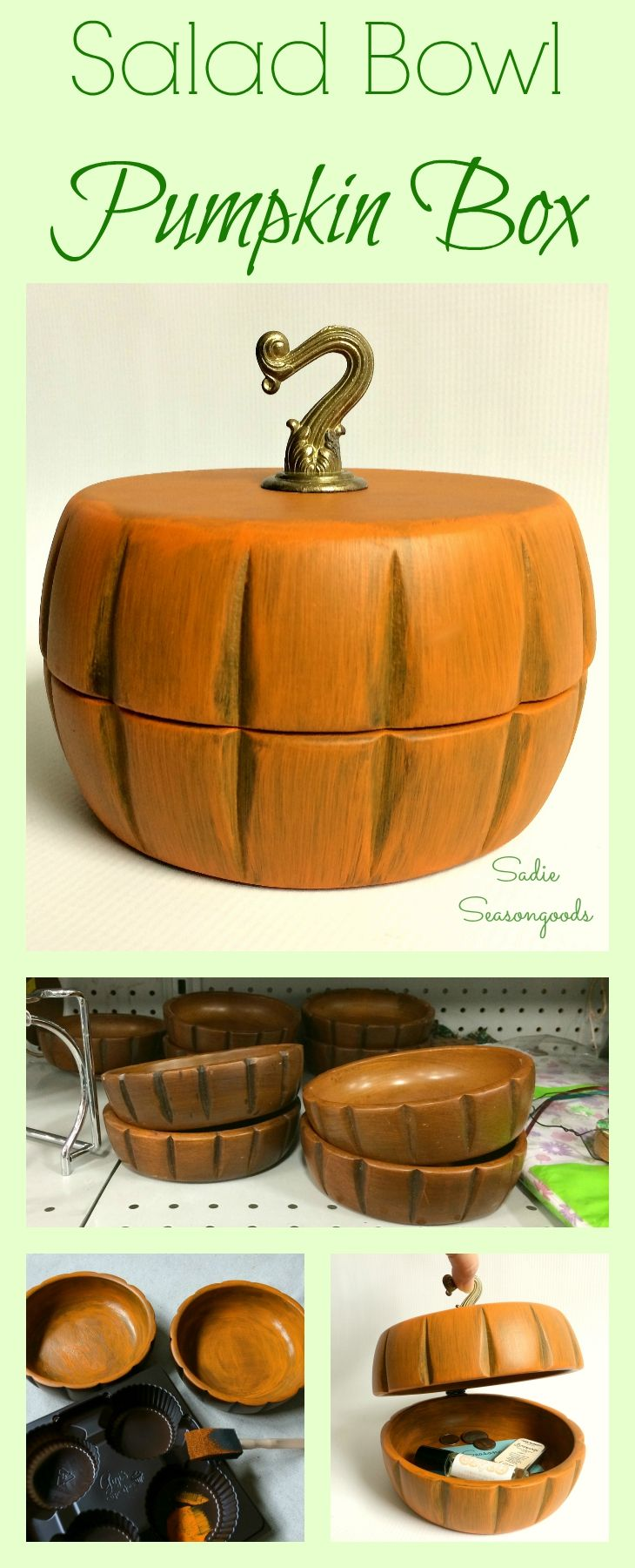 What do you get when you put two wooden salad bowls (from the thrift store!) together, paint them orange, connect them with a small hinge, and add a vintage swag hook on top? The cutest autumn pumpkin trinket box EVER! So simple, so inexpensive, and downright adorable. Another fun Fall upcycling project from #SadieSeasongoods !