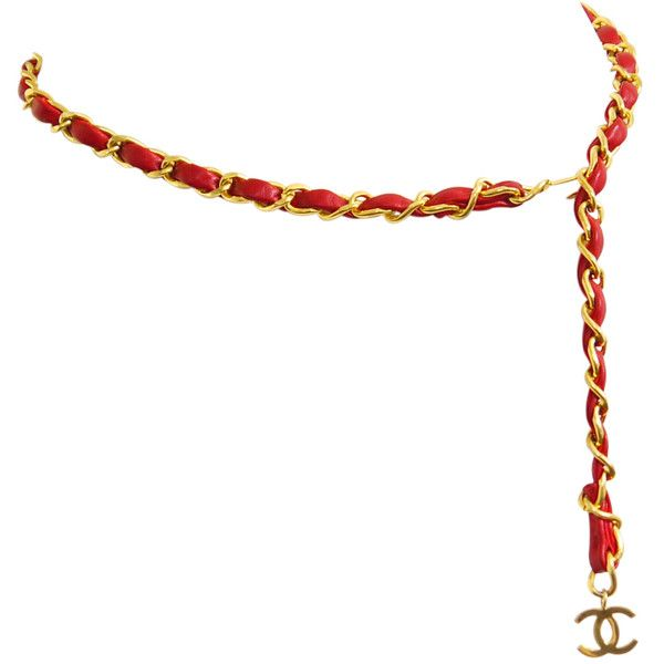 Pre-Owned Chanel CC Signature Gold Chain Belt Red Vintage ($580) ❤ liked on Polyvore featuring accessories, belts, acc, red, 100 leather belt, real leather belts, red belt, chanel and genuine leather belt