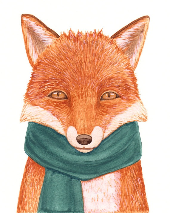 Fox in Green Scarf by dormousestudio