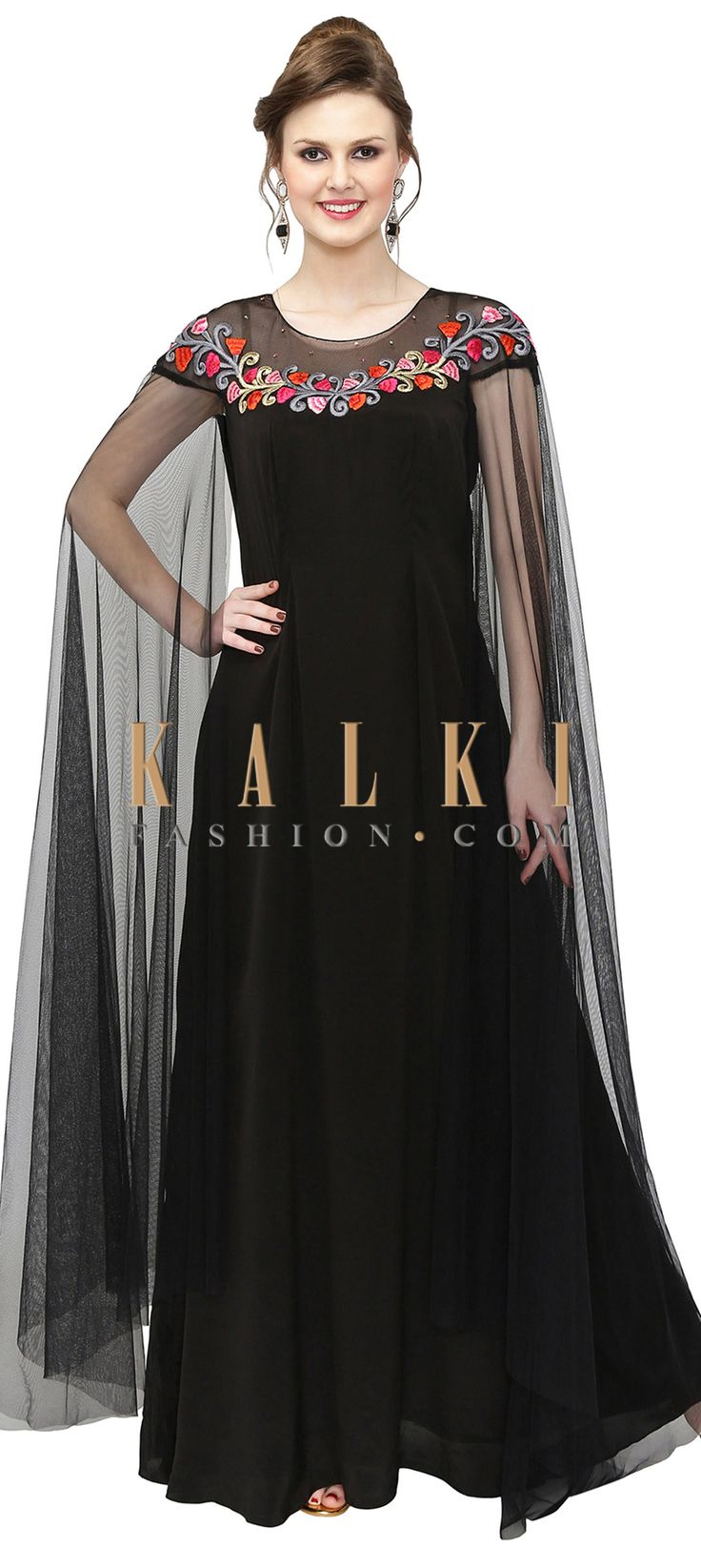 Black Georgette Gown with Resham Embroidered Neckline only on Kalki