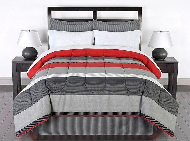 Black Gray Red Stripes Boys Teen Full