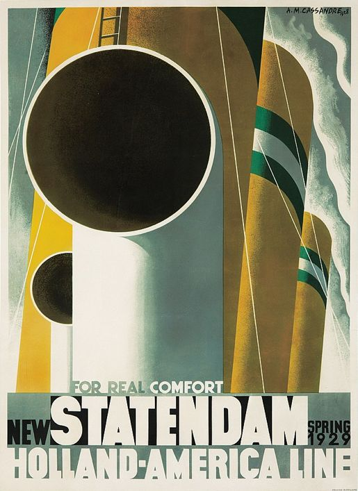 Poster by A. M. Cassandre (1901-1968), 1928, New Statendam Holland America Line.