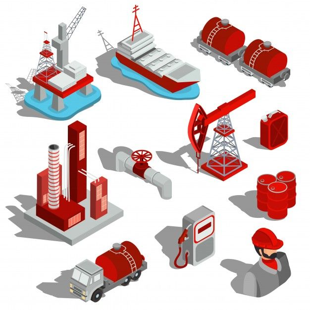A set of isolated vector isometric illustrations, 3D icons of the oil industry. Free Vector