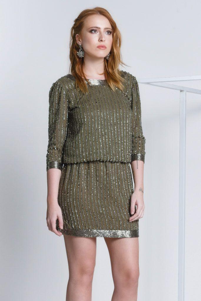 Green Proença - Vestido curto blusado, meia manga, com decote nas costas e todo bordado em sua extensão. #glam #fashion #cool #ootd #cute #style #trends #aboutalook
