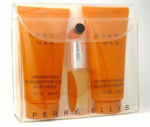 Perry Man by Perry Ellis 3 Piece Mini Gift Set: Perry Man EDT Spray 0.25 oz + Hair & Body Wash 2 oz + After Shave Gel 2 oz by Perry Ellis. $9.95