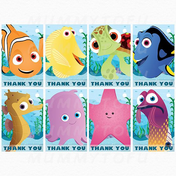 Finding Nemo Birthday Party Thank You Favor Tags - Nemo Dori Squirt Pearl Sheldon Bubbles Gurgle Peach -DIY Party Printable Instant Download