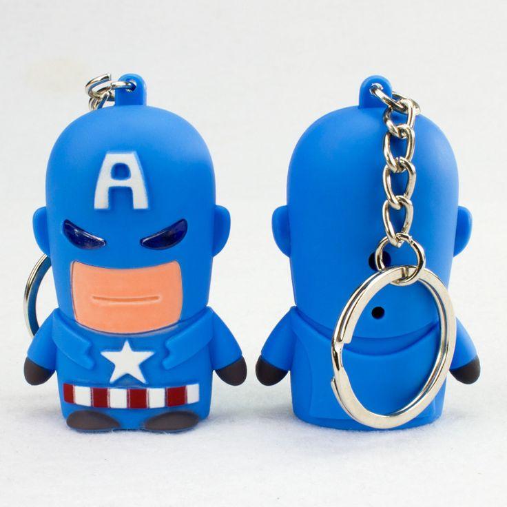 Hot  Super Hero Captain America Sound Led Keychain Pendant Key Chain Ring Holder Trinket Llaveros Metal Avengers Keychain