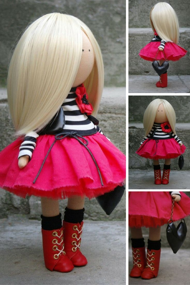 Fabric doll Handmade doll Textile doll Soft doll Rag doll Tilda doll red color Interior doll Unique doll Doll toy by Master Margarita Hilko