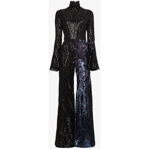 Halpern Flared Sequin Jumpsuit (€2.180) ❤ liked on Polyvore featuring jumpsuits, black, jump suit, sequined jumpsuits, silk jumpsuits, flared jumpsuit and sequin jump suit
