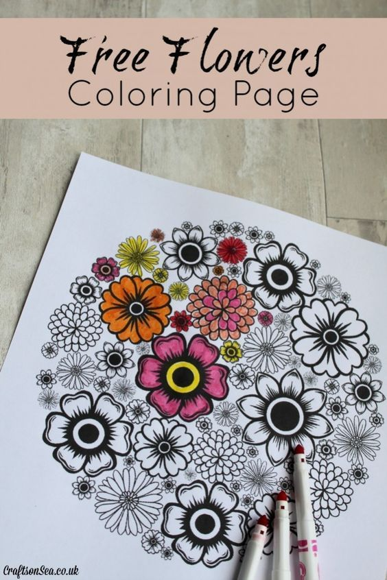 Free Flowers Adult Coloring Page
