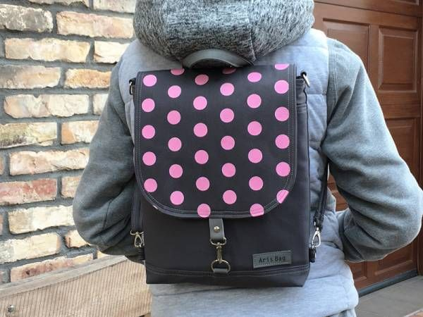 Handmade Canvas Backpack - Pink Polka Dots Design