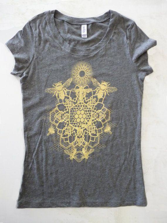 WOMENS Bee Mandala Printed in Honey Yellow on a Gray Bella Soft 100% Cotton Slim Fit Screen Printed T-Shirt