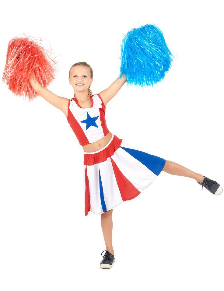 Déguisement pom-pom girl étoile fille : Ce déguisement de pompom girl pour fille se compose d'un top et d'une jupe (pompons et chaussures non inclus). La haut sans manches est rouge et blanc au milieu. Une étoile...