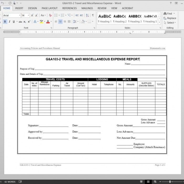 Travel Miscellaneous Expense Report Template Report Template Professional Templates Template Design