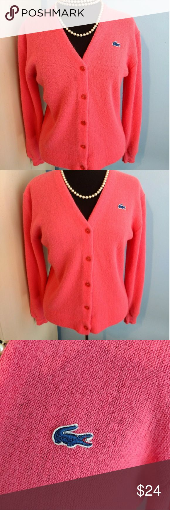 Hot Pink Vintage LaCoste Haymaker Cardigan Hot Pink Vintage LaCoste Haymaker Cardigan. Awesome Sweater, Some Wear (typical for Vtg clothing). Photo #3 & #6 best represent true hot pink color. Still super soft and cozy. Lacoste Sweaters Cardigans