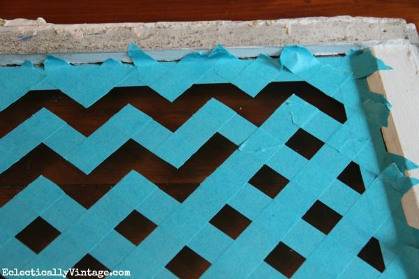 Make a Chevron pattern the easy way - with just tape and paint!  eclecticallyvintage.com