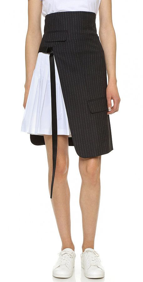 DKNY Pinstripe Wrap Skirt with Pleating ($445)