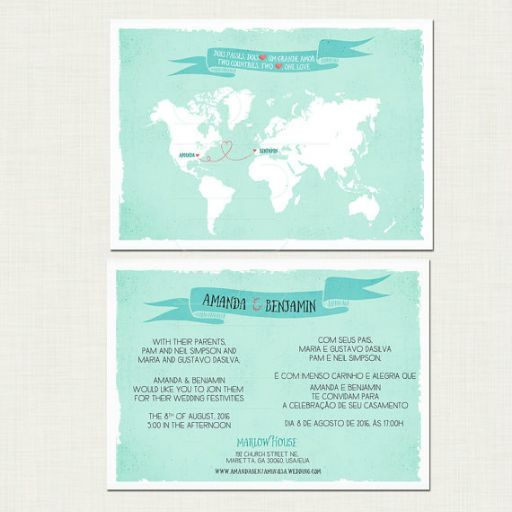 Order a bespoke fun, modern bilingual world map wedding invitation designed for international couples. Any two countries and any two languages.