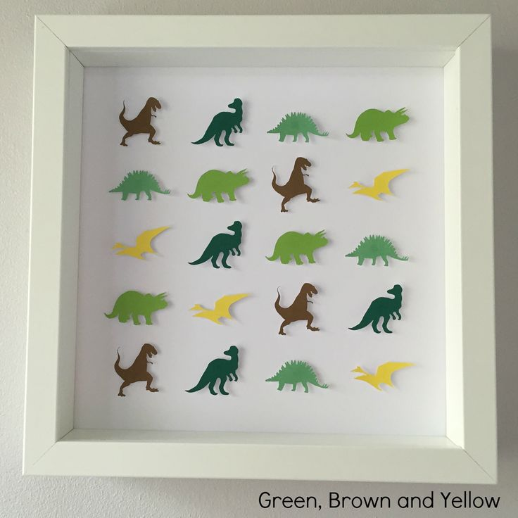 "Frame dimensions - 9""x9"" (23cm x 23cm)Colours – * Green, Brown and Yellow - CL5, CL8, CL22, CL23, PC4, CL9Choose this colour scheme or something in your own choice of colours for the same price. Add name or details personalisation for no extra cost. Intricate handmade dinosaur framed art. Every dinosaur is cut and raised to create a unique 3D effect.An ideal personalised gift for a child. Great for a birthday or to compliment a child's bedroom. ..."