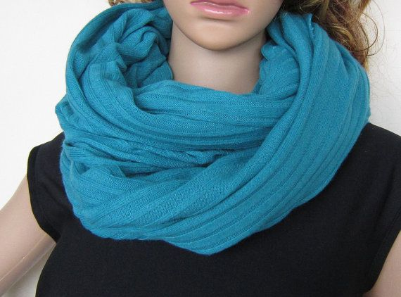 Medium Weight Ribbed Knit Scarf In Color Biscay by EarthyEcoStyle