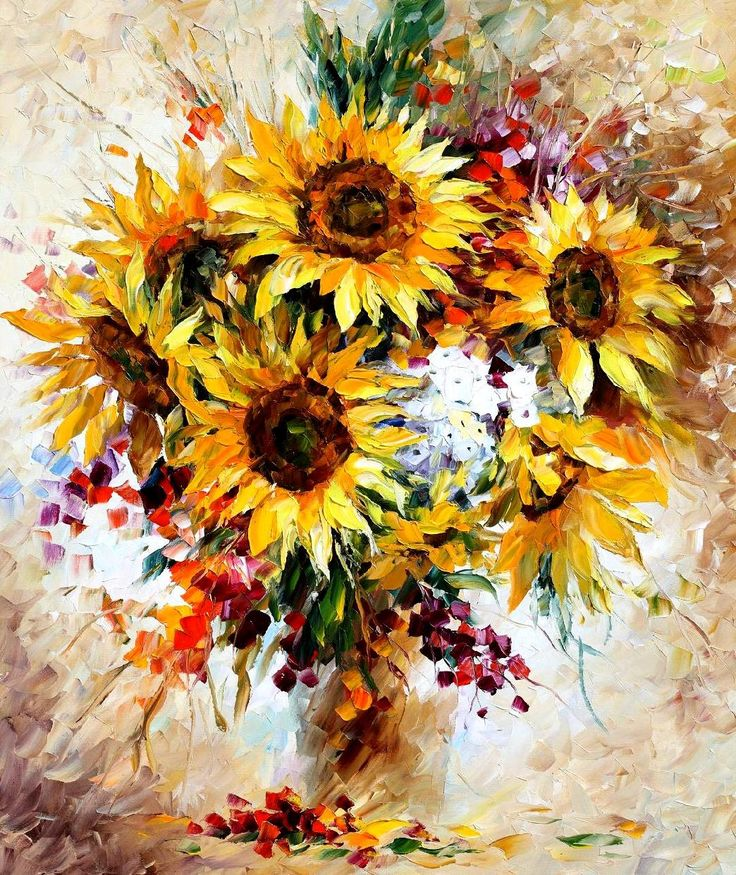 """Happy sunflowers"" by Leonid Afremov ___________________________ Click on the image to buy this painting ___________________________ #art #painting #afremov #wallart #walldecor #fineart #beautiful #homedecor #design"