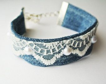 Denim cuff Boho Cuff Bracelet lace Bracelet by PrettyMarry on Etsy