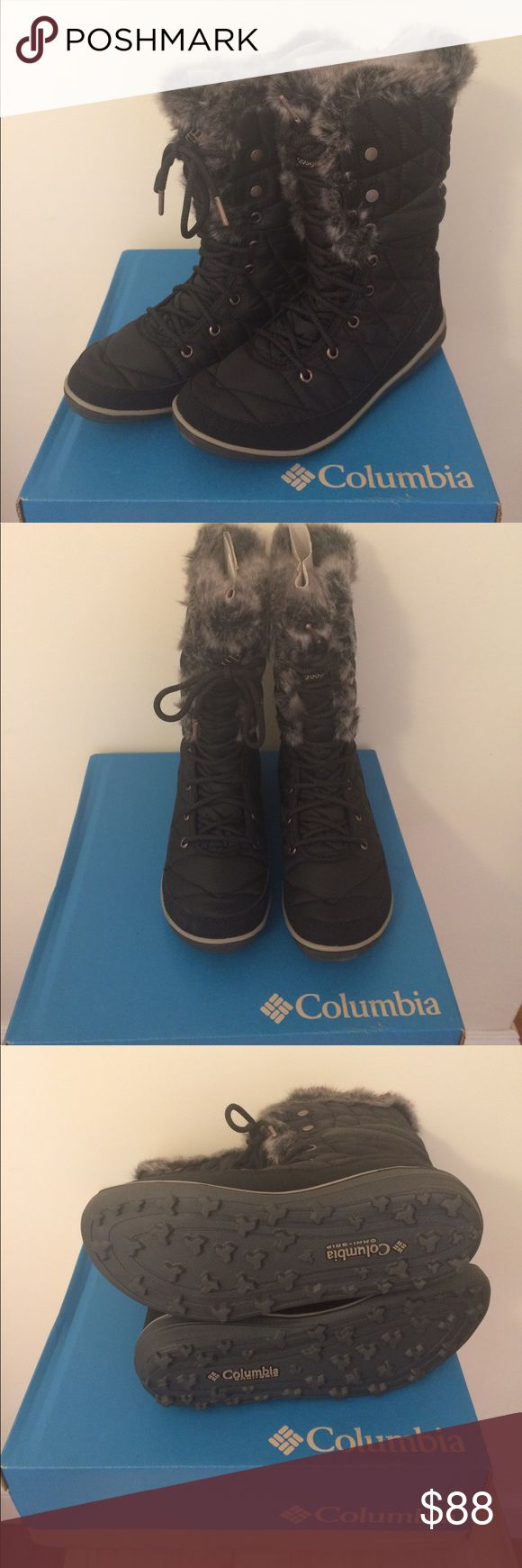 "Columbia Omni-Heat Faux Fur Mid-Calf Winter Boots Brand new black Heavenly™ Omni-Heat™ Columbia winter boots! Website description: ""Waterproof breathable seam-sealed membrane bootie construction keeps feet dry. 200g insulation to keep feet warm. Omni-Grip™ non-marking rubber outsole for traction on snowy and slippery surfaces. Waterproof woven synthetic textile upper fights off water penetration. Textile webbing and faux fur collar and trim. Metal rivets and aglets for durable wear…"