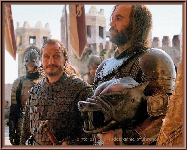 Bronn and The Hound, Sandor Clegane, with his dog helm