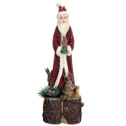 Melrose International Red Santa with Animals On Tree Trunk
