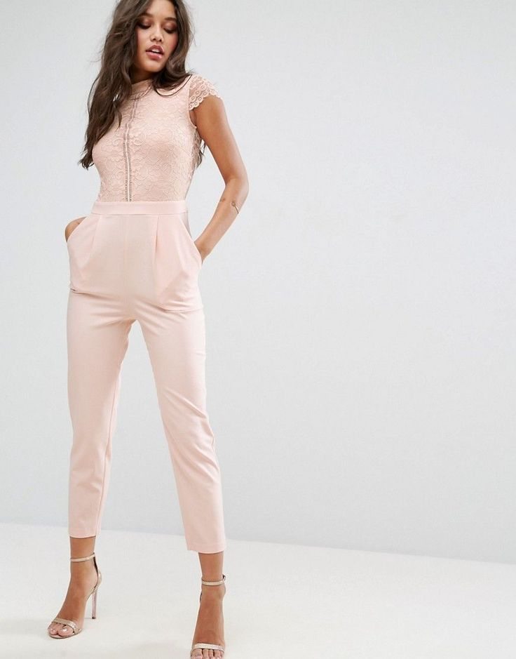 ASOS Lace Top Jumpsuit - Pink