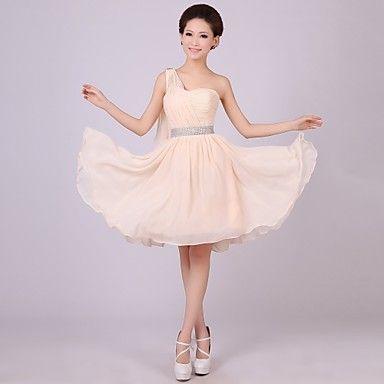 a-lijn / prinses een schouder korte / mini bruidsmeisje jurk – EUR € 24.99