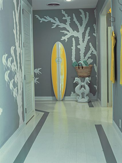 Coral under water sea beach modern mural in gray and white. interior design by Mary McDonald.