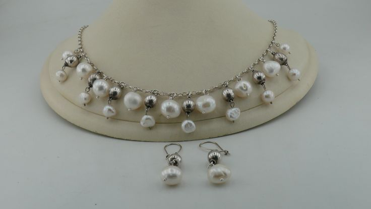 Silver & Pearl Necklace and Earrings