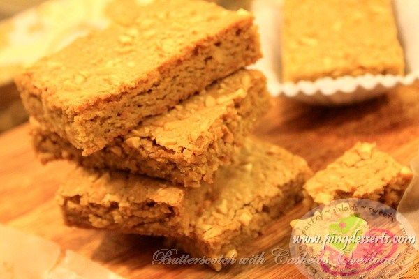 A perfect and delicious butterscotch with cashews, these bars are so moist, chewy and taste like caramel with a brownie like texture. A delicious and timeless butterscotch bar you want to eat anytime of the day.