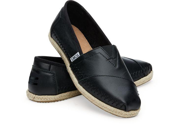 Black Full Grain Leather Women's Classics | TOMS
