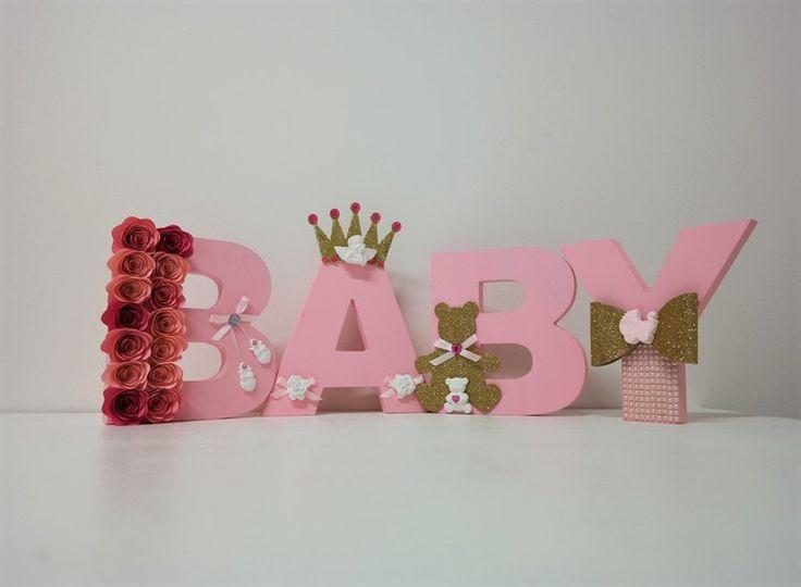 Decorazioni - BABY Scritta in legno colore Rosa - Cm. 68 - un prodotto unico di PaperLoveFantasy su DaWanda