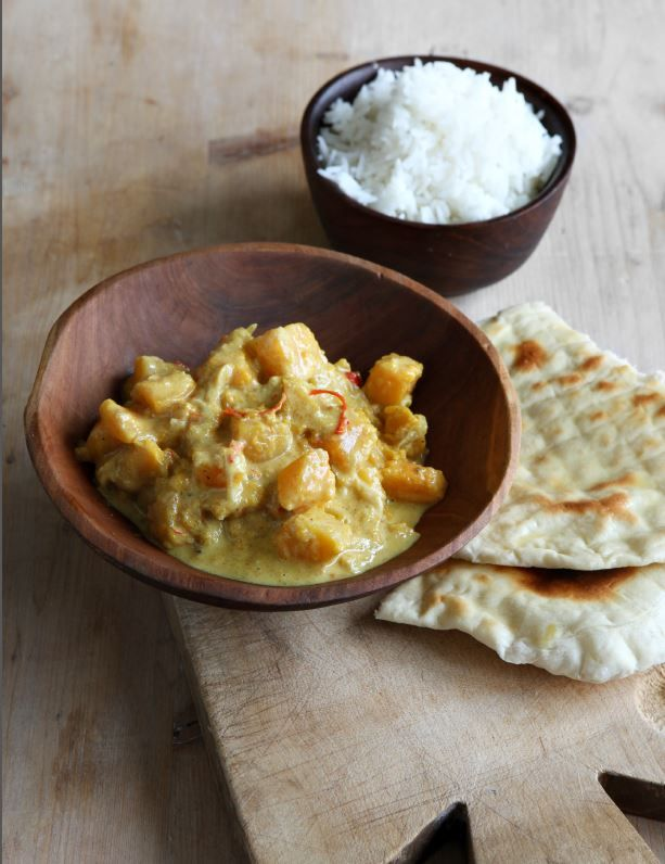 This simple squash curry is the sort of thing you could rustle up quickly on a chilly weekday evening. You can make the dish as hot or mild as you like by adjusting the quantity of fresh chilli and by the curry powder or paste you choose to use. I'd go for a fairly mild variety of chilli, so you can put plenty of it in for colour and texture without blowing everyone's head off.