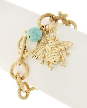 Bee Charm & Turquoise Bead Gold Tone Chain Toggle Bracelet