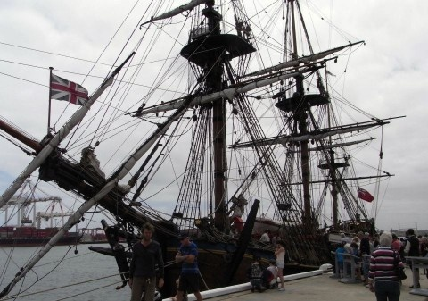 The Endeavour, this is the ship that captain James Cook sailed to Australia in. The original ship was rebuilt/restored here in Fremantle when I was in school, then it was launched and left us.... this is the first time it's returned.