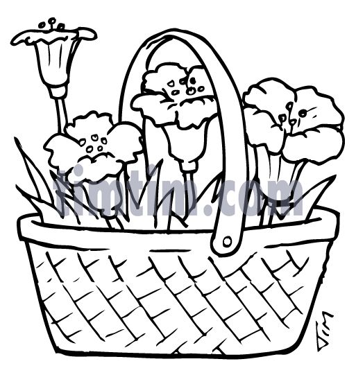 How To Draw A Flower Basket Step By