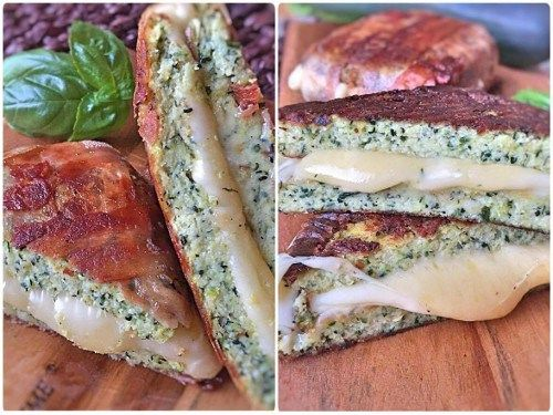 Low Carb Zucchini Sandwich grilled Cheese aus Zucchini Brot mit Cheddar Käse und Bacon